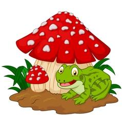 Cartoon frog basking under mushrooms vector image