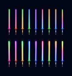 Collection of colorful isolated glowing sabers vector