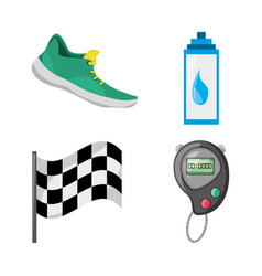 Colorful set icon related with running and vector