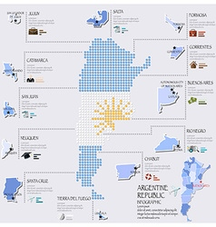 Dot and flag map of argentina infographic design vector