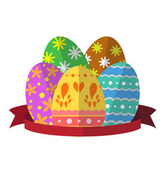 Egg easter with ribbon vector