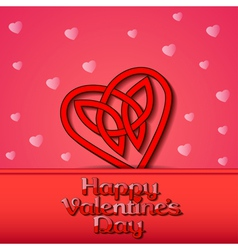 festive background with hearts of Celtic weave vector image vector image