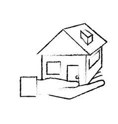 Figure hand with house architecture design icon vector