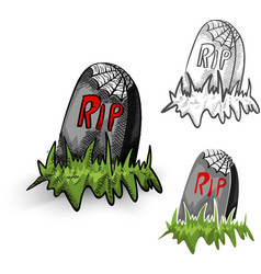 Halloween monsters isolated spooky tombstones set vector