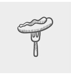 Hotdog on the fork sketch icon vector