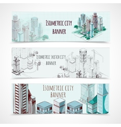 Isometric building banners vector