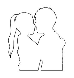 Monochrome contour with half body couple hugged vector