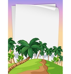 Paper template with trees in background vector image