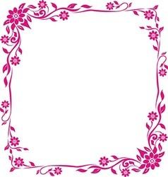 pink frame floral vector image