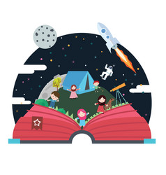 Pop up book children space astronout vector