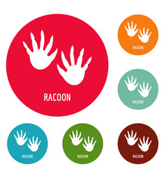 Racoon step icons circle set vector