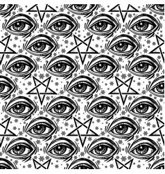 Seamless pattern with eye stars and pentagram vector