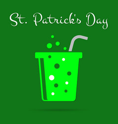 St patricks day card green carbonated drink text vector