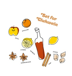 Winter gluhwein set oranges apples lemon cinnamon vector