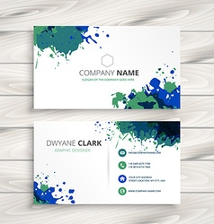 Creative splatter business card vector