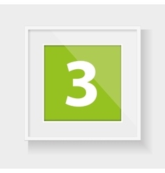 Square frame with number three vector image