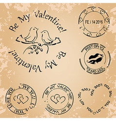 Grunge stamps for valentine day - elements vector