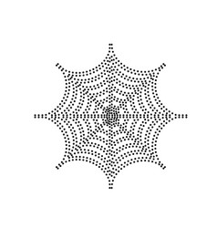 Spider on web   black dotted vector