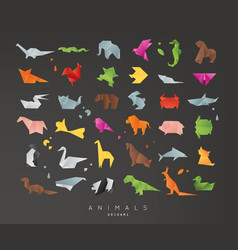 Animals origami set black vector