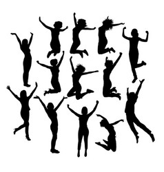 Woman happy jumping expression silhouettes vector