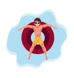 Young man in sunglasses on inflatable ring in star vector