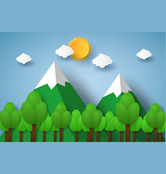 Nature landscape with mountain and tree paper vector