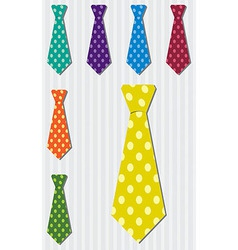 Bright polka dot silk tie stickers in format vector