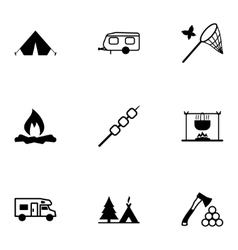 Black camping icons set vector