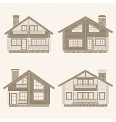 Log houses set vector image