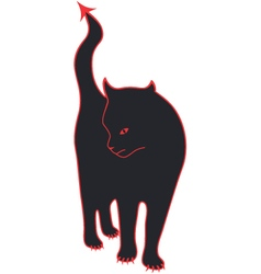 Devil cat with red pointed tail and claws vector