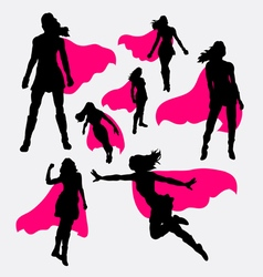 Female superhero silhouettes vector