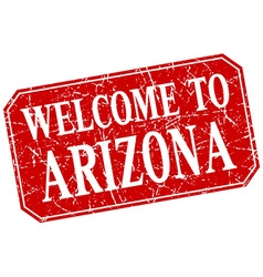 Welcome to arizona red square grunge stamp vector