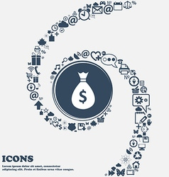 dollar money bag icon in the center Around the vector image
