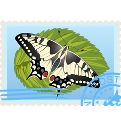 Postage stamp with a butterfly vector image