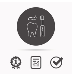 Brushing teeth icon electric toothbrush sign vector