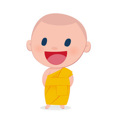 A child monk smile isolate on white background vector
