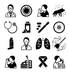 Asthma black icons set vector