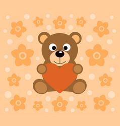 Background with funny bear cartoon vector