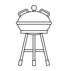 Camping kettle barbecue icon outline style vector image