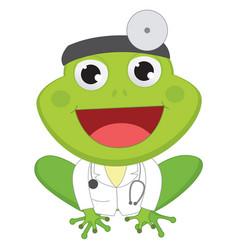 Cartoon doctor frog vector