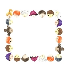 Children faces frame vector