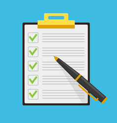 clipboard check list marks with pen vector image