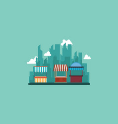 Collection of street shop with city background vector