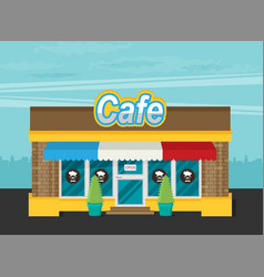 Facade of cafe flat vector
