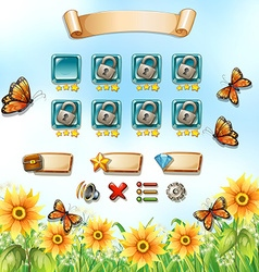 Game template with butterflies in the garden vector