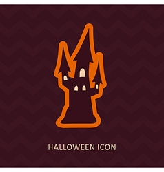 Halloween witch castle silhouette icon vector
