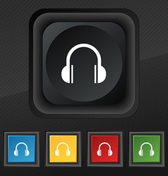 headphones icon symbol Set of five colorful vector image