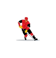 Hockey sign player with the stick dribbling vector