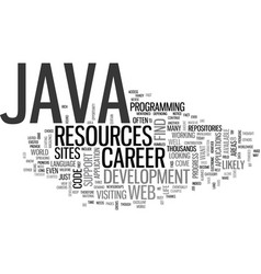 Java career text background word cloud concept vector