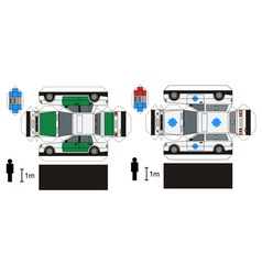 Paper models of police and ambulance cars vector